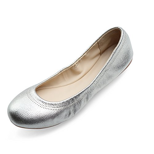 Xielong Women's Chaste Ballet Flat Lambskin Loafers Casual Ladies Shoes Leather Silver 11.5 ()