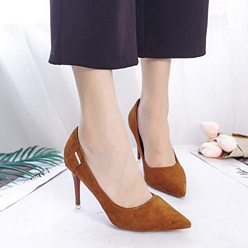 Brown Heel zapatos Acentuados Boca Yukun De Baja Zapatos High Stiletto Zapatos De alto Tacón de Mujer Acentuado Zapatos Aguja Solos tacón De Femeninos BAwxd1Aqcz