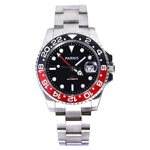 - WhatsWatch 40mm Parnis Sapphire Glass GMT Master Red&Black Bezel Men Automatic Watch PA-0054