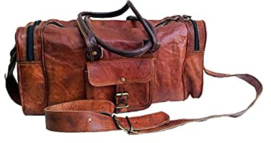 Mens Leather duffle bag carry on Small Weekend Travel Sports Gym Bag for men