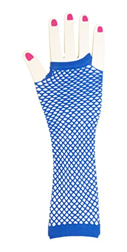Neon Fish Net Long Arm Sleeve Glove Trendy Fashion Punk Style (Royal Blue)