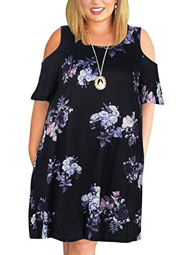 Nemidor Women's Cold Shoulder Plus Size Casual T-Shirt Swing Dress with Pockets (14W, Purple Print)