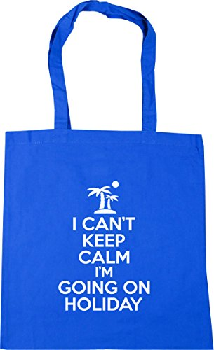 HippoWarehouse I can't keep calm i'm going on holiday Tote Shopping Gym Beach Bag 42cm x38cm, 10 litres Cornflower Blue