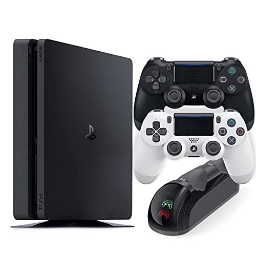 PS4 흑백 무선 컨트롤러 및 MYTRIX DS4 고속 충전 도크가있는 슬림 1 테라바이트 콘솔