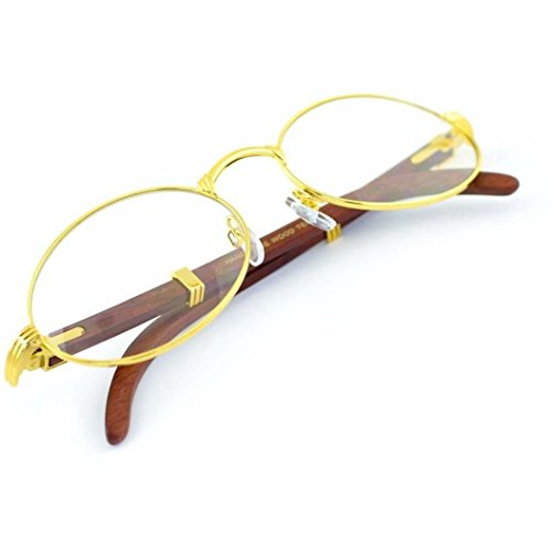 Jgny - Woodstock Wood Frame Clear Lens Glasses Migos Style REAL - Frames Glasses Wooden
