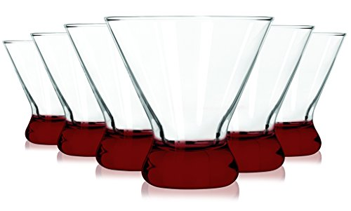 Red Libbey Cosmopolitan Beverage Glass Colored Accent 14 oz Set of 6