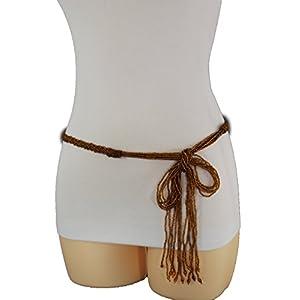 TFJ New Women Fashion Tie Belt Hip High Waist Braided Beads Fringes S M L Brown