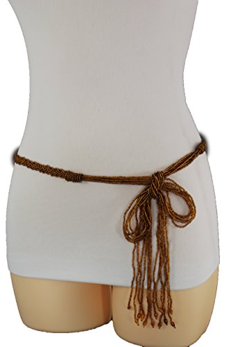 ion Tie Belt Hip High Waist Braided Beads Fringes S M L Brown (New Ladies Tie Belt)