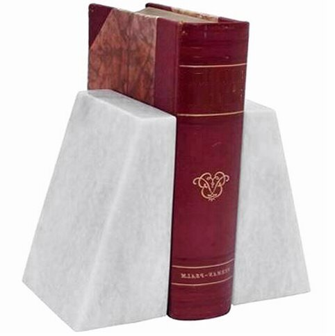 Khan Imports Decorative White Marble Bookends, Heavy White Bookends - Large by Khan Imports