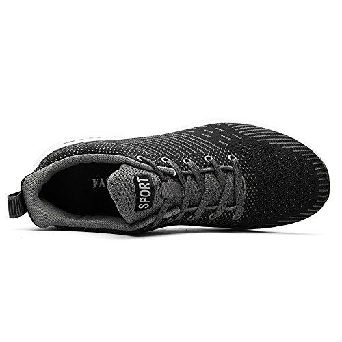 Ying Lan Herenmode Casual Zachte Sneakers Lichtgewicht Ademende Atletische Sportschoenen Zwart Grijs