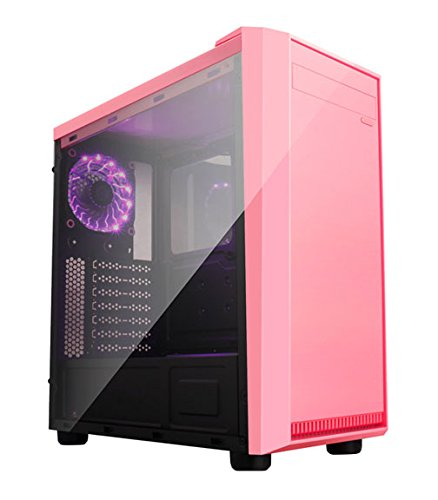 Apevia X-MIRAGE-PK Mid Tower with 2 x Full-Size Acrylic Side Window, Top USB3.0/USB2.0/Audio Ports - Pink