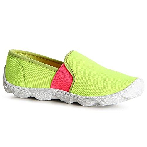 topschuhe24 - Bailarinas de tela para mujer amarillo fluorescente