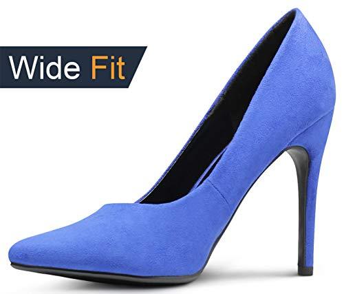 Wide-Fit Womens Pointy Toe High Heels Stiletto Dress Pumps - (Blue IMSU) - 6.5