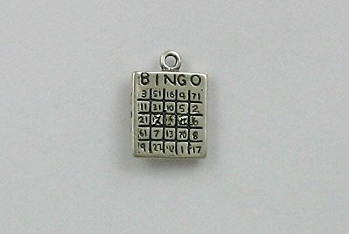Bingo Silver Sterling (Sterling Silver Bingo Card Charm Jewelry Making Supply, Pendant, Charms, Bracelet, DIY Crafting by Wholesale Charms)