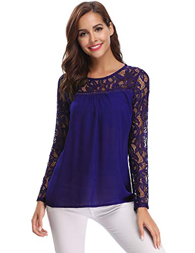 Blouse Shirt T Tops de Tunique Royal Longues Soie Femme Fleuri Manches Haut Pull Rond Dentelle en Femme Chic Bleu Mousseline Col Chemisier zZCqnf