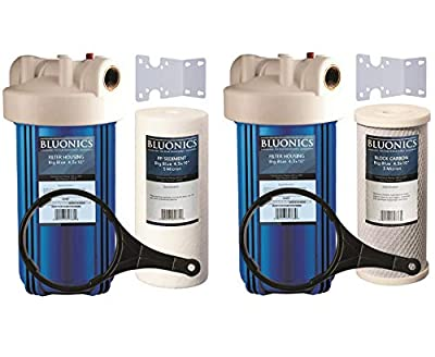 "Two 10"" BLUONICS Big Blue Whole House Water Filters with Sediment & Carbon 4.5 x 10"" Filter Cartridges Included for Rust, Iron, Sand, Dirt, Sediment, Chlorine, Pesticides, Insecticides and Odors"