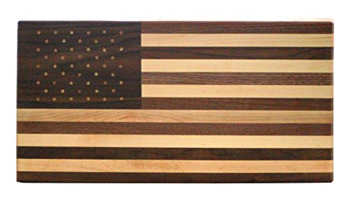 American Flag Cutting Board Amish Made Walnut and Maple Wood by VW Woodcraft