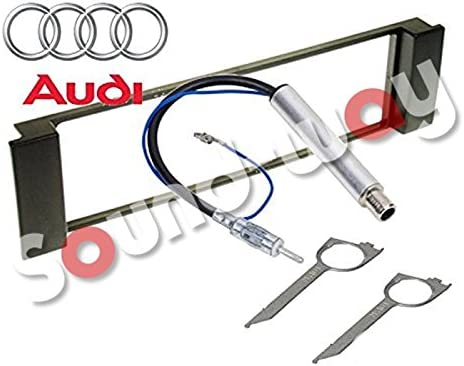 Sound-way Kit Montage Autoradio, Marco 1 DIN Radio de Coche, Adaptador Antena, Llaves Desmontaje Compatible con Audi A3, A6, Seat Leon, Toledo