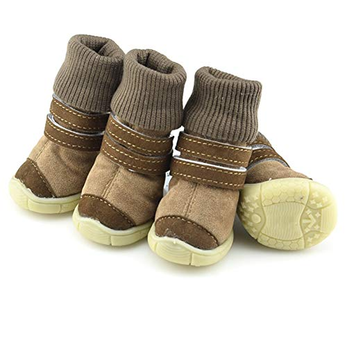(Adarl Adjustable Puppy Dog Sneakers Pet Boots Skidproof Waterproof Winter Warm Suede Dog Shoes D Brown)