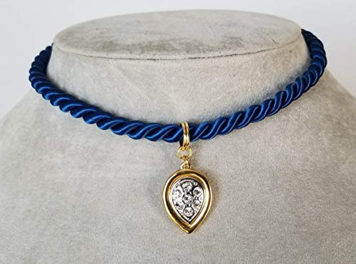 Trendy, Royal Blue Silk Rope Choker with an Upside Down Teardrop, Two Tone Rhinestone Charm
