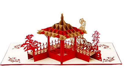 Kirigami Papercraft 3D Pop Up Card for Anniversary Easter Halloween New Year's Thanksgiving Valentine's Day Wedding Christmas Card -