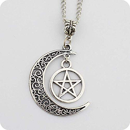 Haluoo Crescent Moon and Star Pendant Necklace, Star Pendant, Cosmic Crescent Moon Nebula Necklaces, Vintage Retro Hallow Out Pendant Necklaces Jewelry for Men Women (Silver)