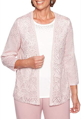 Alfred Dunner Women's Petite Pointelle Spacedye Sweater twoferstudded Neckline, Rose, PM