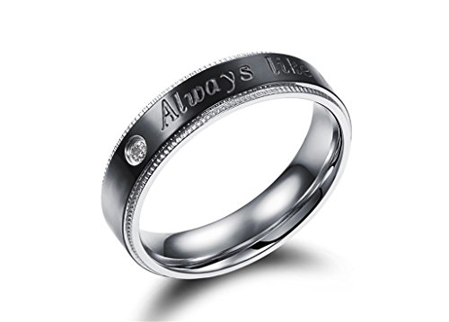 [Efloral His & Hers Stainless Steel Couples Diamond Inlay Ring Engraved