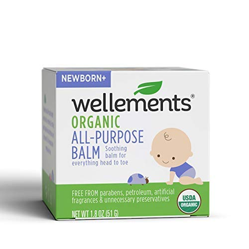 Wellements Organic All Purpose Balm, 1.8 Fl Oz, Soothing Head to Toe Balm for Infants and Toddlers, Free from Dyes, Parabens, Alcohol, Preservatives