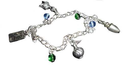 Pewter Beaded Bracelets - Harry Potter Pewter Potion Vial Charms & Beaded Bracelet, Warner Brothers Official Item (Blue/Green)
