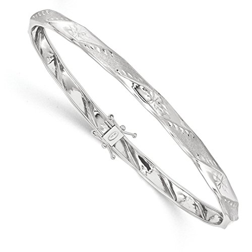 ICE CARATS 14k White Gold Flexible Bangle Bracelet Cuff Expandable Stackable Fine Jewelry Gift Set For Women Heart