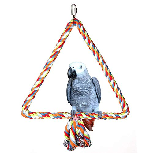 Hypeety Birds Rope Triangle Perch Adjustable Parrot Cage Stand Chewing Swing Toy Ropes for Small Medium Parrot Spiral Rope Cage (M:9.811inch)