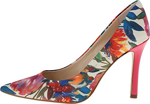 GUESS Women's Eloy Washed Out Floral Chiffon/Pink Multi Pump 7.5 M