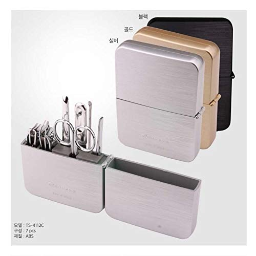 (Three Seven 777 TS-4112 Chrome Nail Clipper Grooming Kit Set Travel case (Silver))