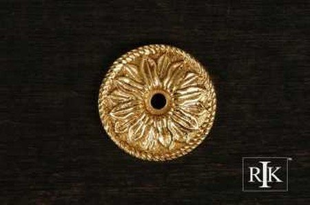 Knob Backplate Polished Brass - RK International RKI 482-Polished R.K. International BP 482 Flower Knob Backplate, Polished Brass,
