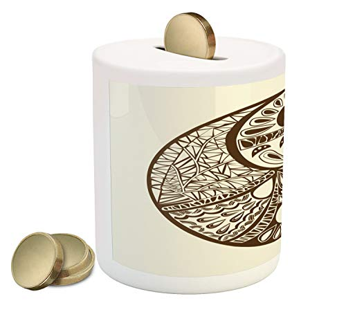 Ambesonne Yin Yang Piggy Bank, Abstract Yin Yang Ornamented with Hand-Drawn Triangles and Drop Shapes, Printed Ceramic Coin Bank Money Box for Cash Saving, Chocolate and Eggshell