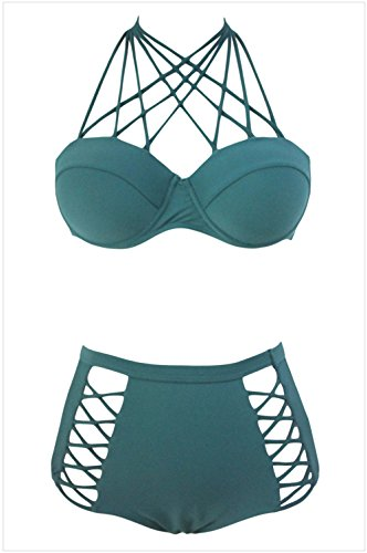 YFFaye Women's Green Strappy Push-up High Waist Bikini Swimsuit S