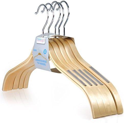 HANGERWORLD 10 Stylish Laminated 42.5cm Wooden Clothes Coat Hangers with Non Slip Trouser Bar