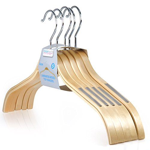 Hangerworld Stylish Laminated 16.7inch Wooden Non-Slip Coat Clothes Hangers, Pack of 10