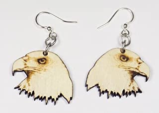 product image for Green Tree Jewelry Eagle Bird Earrings #1421 Natural Wood