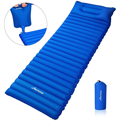 MOVTOTOP Camping Sleeping Pad【Newest 2019】, Ultralight Sleeping Mat with Attached Pillow, Backpacking Inflating Sleeping Pad (78.7 x 23.6 x 3.6in), Perfect for Hiking, Traveling and Backpacking(Blue) (Best Sleeping Bags For Backpacking 2019)