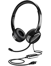 Stereo USB Headset with Microphone Noise Canceling, 3.5mm Computer Headset with Mute, Lightweight Wired Headphone with Mic for Cell Phone, Laptop, Comfort-fit for Home Office, Remote Learning