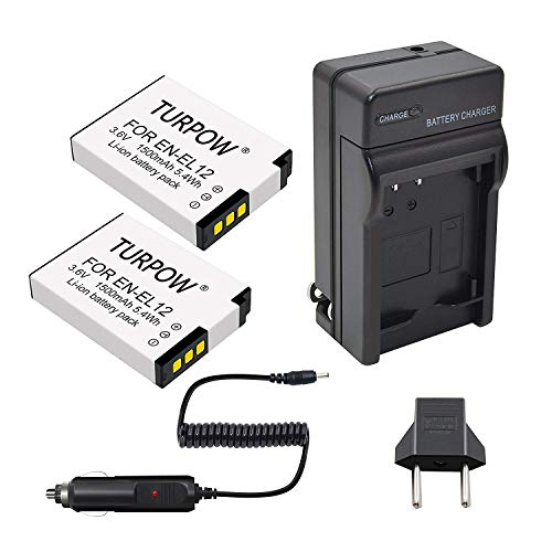 Turpow 2 Pack Replacement Battery, Charger Compatible with Nikon EN-EL12 for Nikon Coolpix A900 AW100 AW110 AW120 AW130 S31 S800C S6100 S6200 S6300 S8100 S8200 S9050 S9100 S9200 S9300 S9400 P340