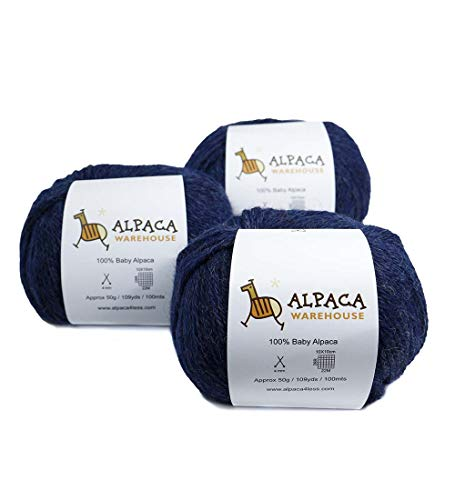 100% Baby Alpaca Yarn Wool Set of 3 Skeins Worsted Weight (Blue Jean)