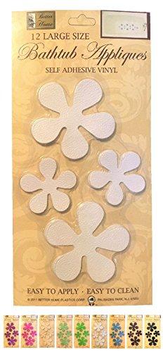 Better Home 12 Fun Flower Shape Bath Tub/Shower Appliques Safety Non Slip Treads, Choose Colors (White) - Bathtub Shape