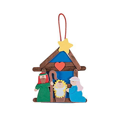 Fun Express - Nativity Craft Stick Ornament ck for Christmas - Craft Kits - Ornament Craft Kits - Non Foam - Christmas - 12 Pieces