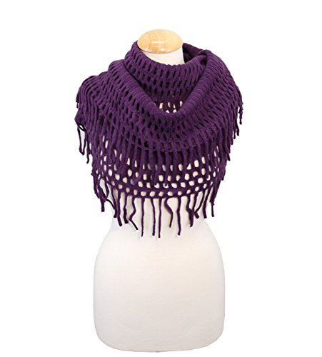 Bazzaara Ultra Soft Thick Chenille Tassel Fringe Infinity Loop Scarf Chenille Loop Fringe