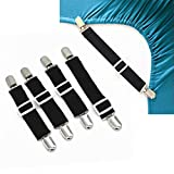 GreeSuit Adjustable Bed Sheet Fasteners Suspenders Corner Holders Elastic Straps Clips Grippers (Set of 4, Black)