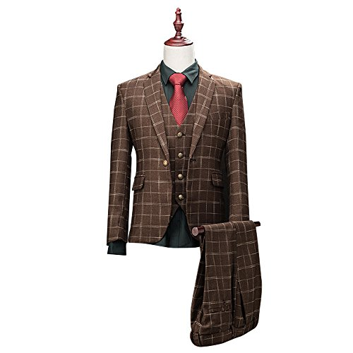 Mens-Classic-Plaid-3-Piece-Suit-Peak-Lapel-One-Button-Tuxedo-Slim-Fit-Suit