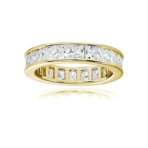 Yellow Gold Flashed Sterling Silver Cubic Zirconia Princess-Cut 3mm Channel Set Polished Eternity Band Ring, Size 9